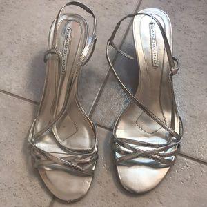 Silver strappy kitten heel
